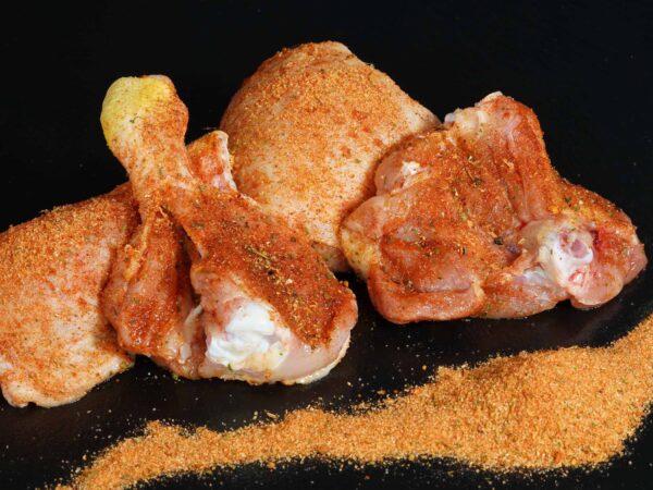 Hühnerkeulen - gewürzt für Grill